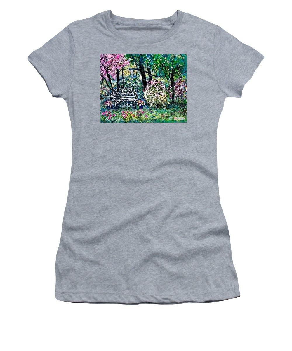 Nature Women's T-Shirt (Athletic Fit) featuring the painting Victorian Love Seat by Norma Boeckler