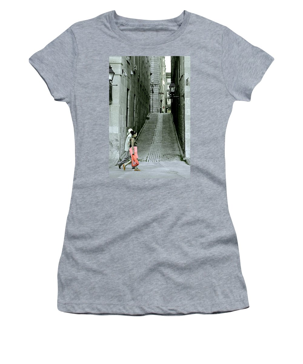 Valerie Rosen Women's T-Shirt (Athletic Fit) featuring the photograph Vieux Montreal by Valerie Rosen