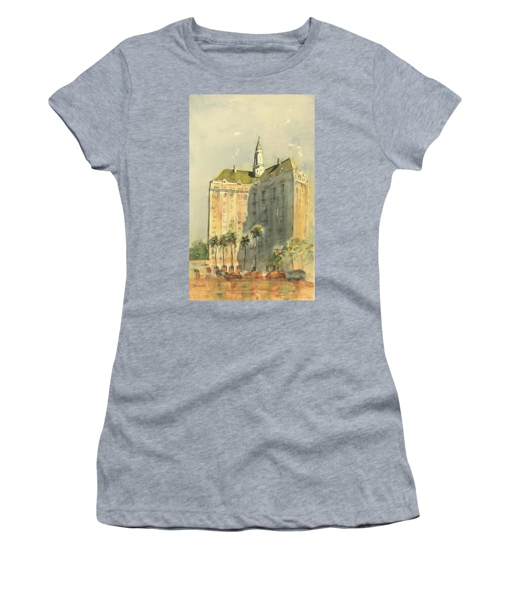Villa Riviera Women's T-Shirt featuring the painting Villa Riviera Another View by Debbie Lewis