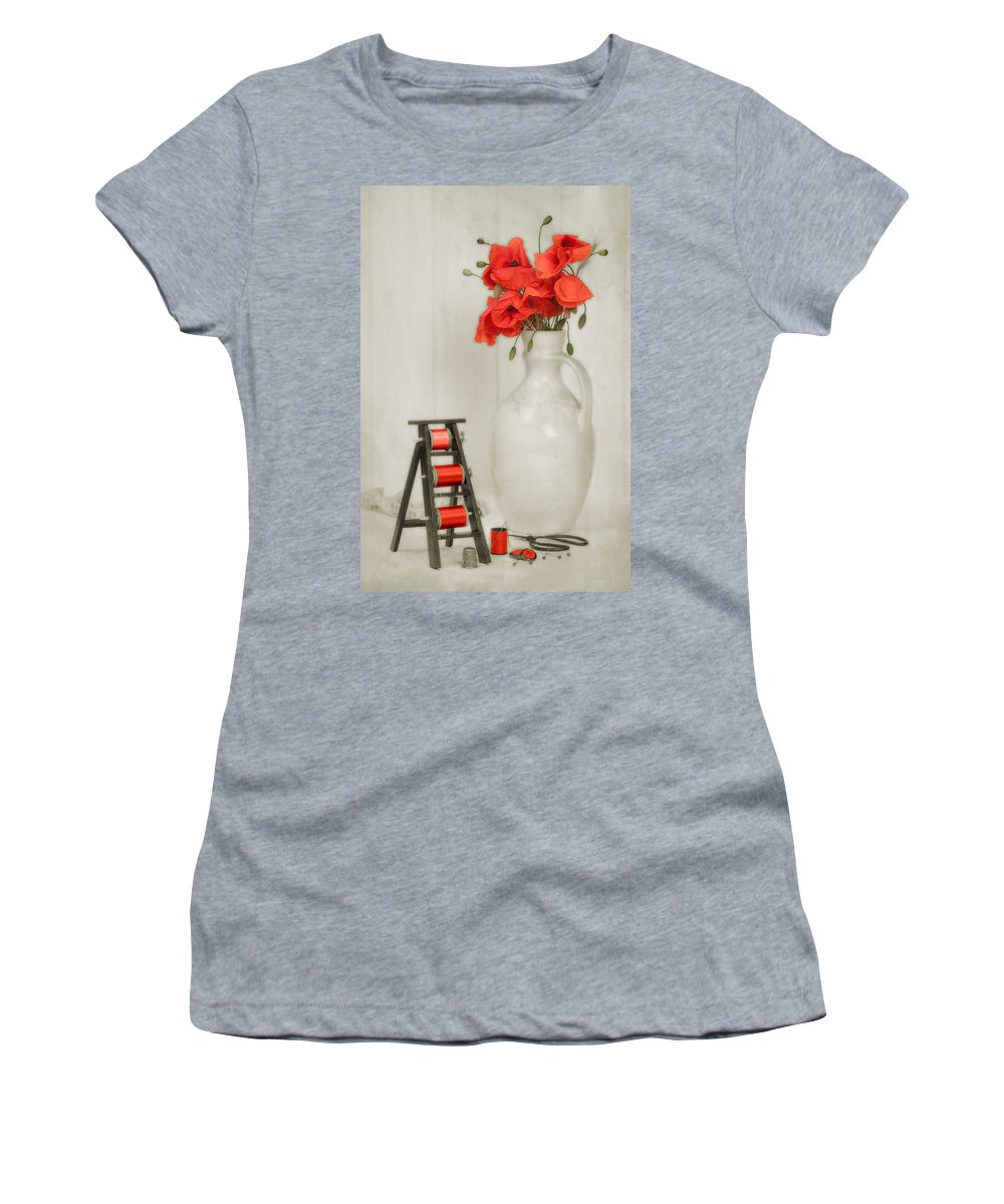 Cotton Women's T-Shirt featuring the photograph Vintage Sewing Table by Amanda Elwell
