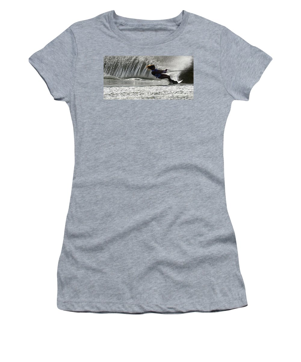 Water Skiing Women's T-Shirt featuring the photograph Water Skiing Magic Of Water 12 by Bob Christopher