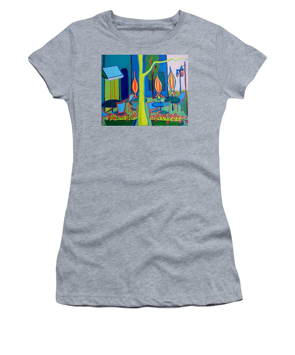Landscape Women's T-Shirt featuring the painting Summer Cafe by Debra Bretton Robinson