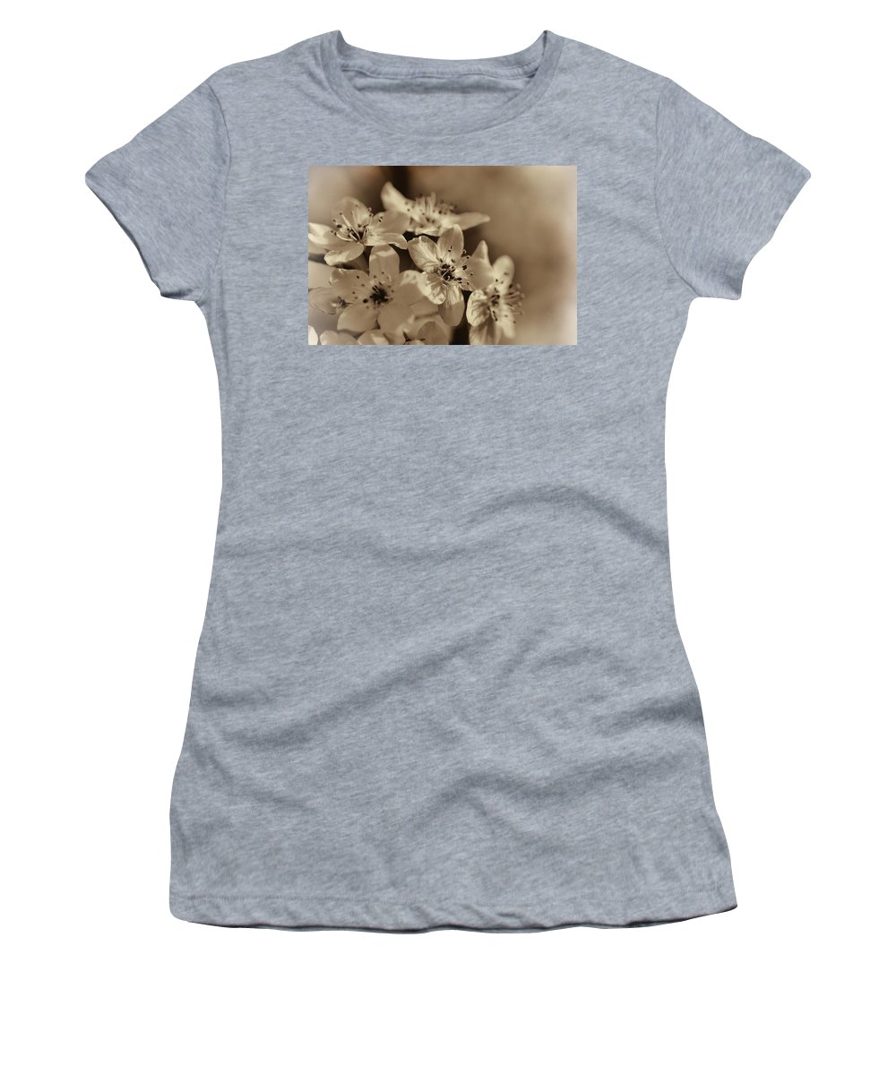 Pyrus Calleryana Women's T-Shirt (Athletic Fit) featuring the photograph Waves Of Light In Sepia by Kathy Clark