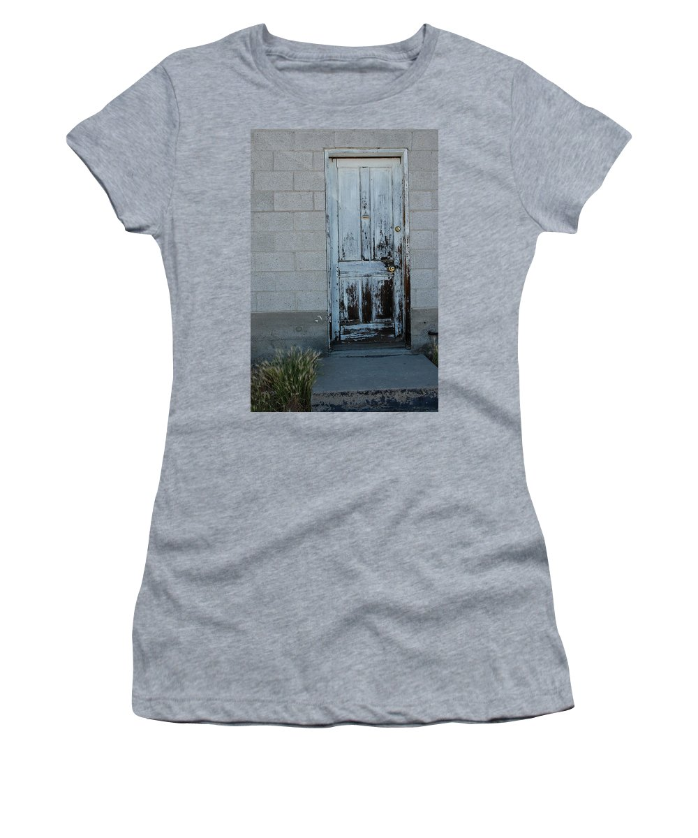 Weatheusa Women's T-Shirt featuring the photograph Weathered Door Virginia City Nevada by LeeAnn McLaneGoetz McLaneGoetzStudioLLCcom