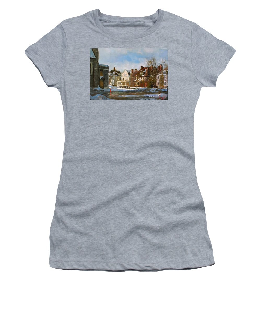 Houses Women's T-Shirt featuring the painting West Ferry Street by Ylli Haruni