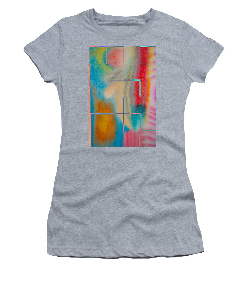 Abstract Oil Pastel Women's T-Shirt (Athletic Fit) featuring the painting Where My Brush Touches by Marie Jamieson