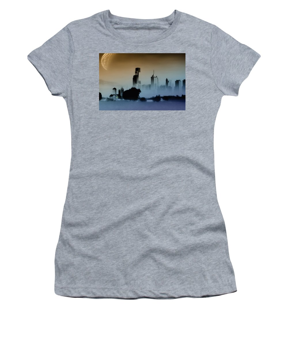Philadelphia Women's T-Shirt (Athletic Fit) featuring the digital art While The City Sleeps by Bill Cannon