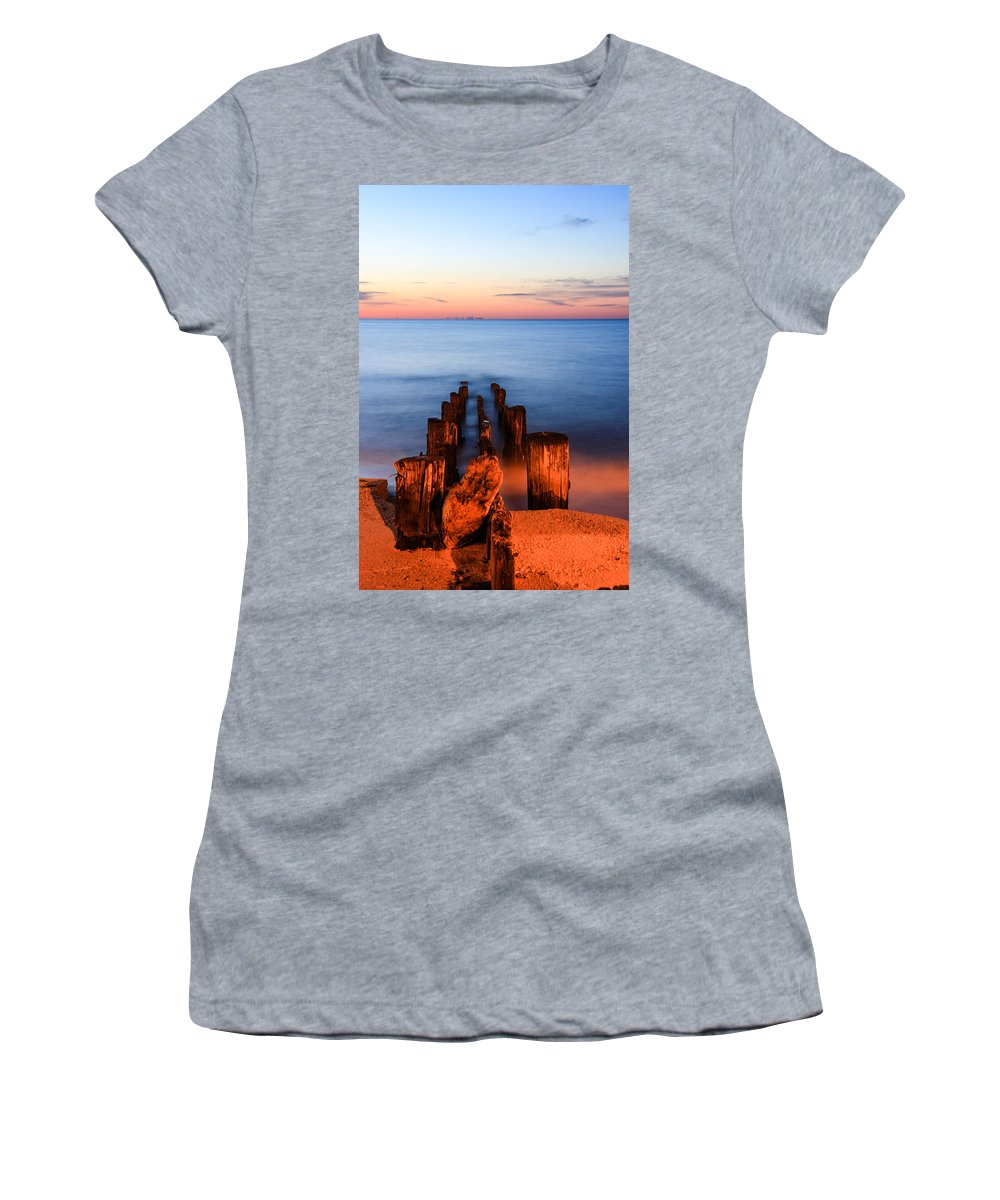 Sunrise Women's T-Shirt (Athletic Fit) featuring the photograph While You Were Sleeping by Kaye Seaboch