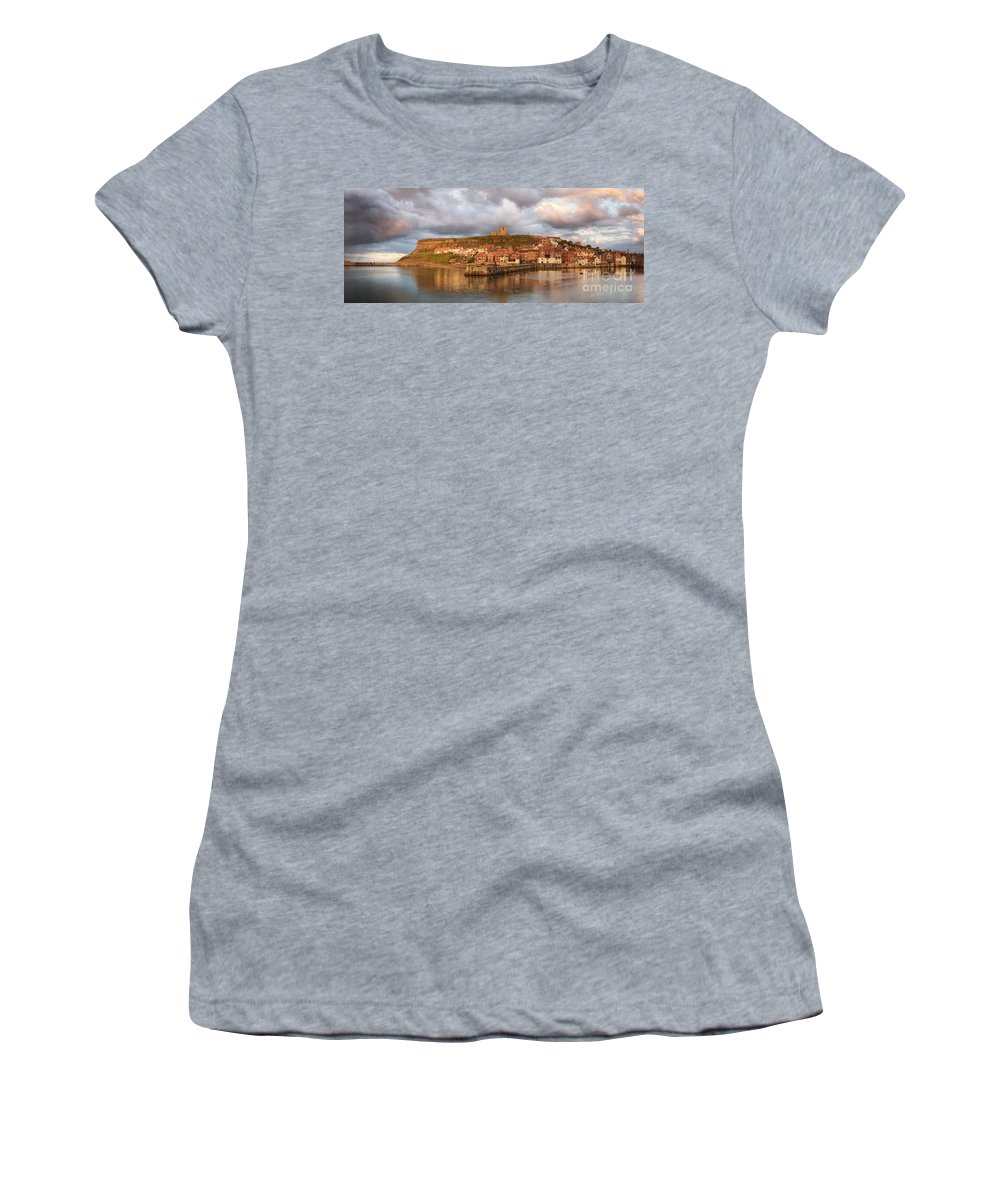 Whitby Women's T-Shirt (Athletic Fit) featuring the photograph Whitby Harbour by Martin Williams