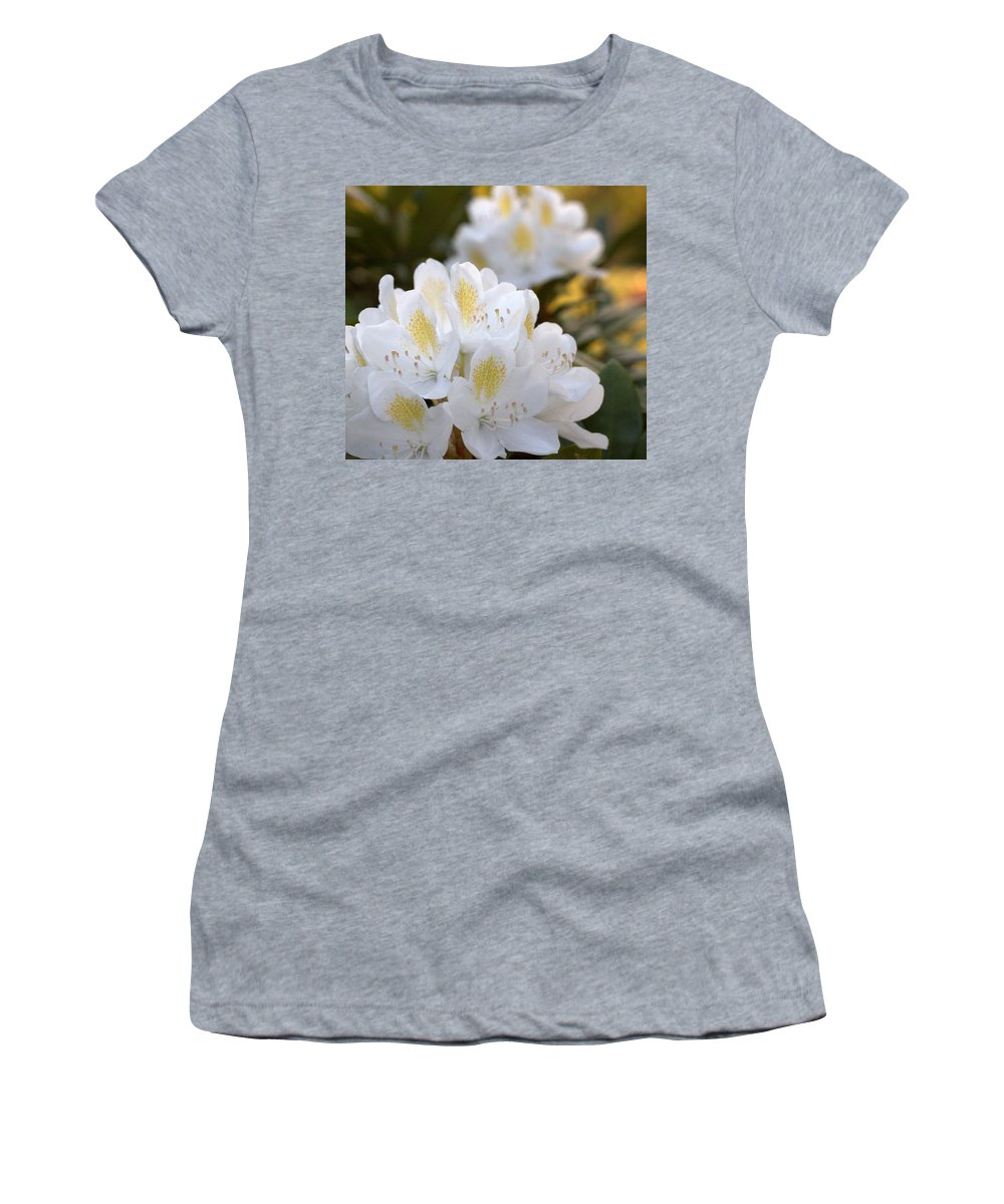 Rhododendron Women's T-Shirt featuring the photograph White Rhododendron Bloom by Mel Hensley