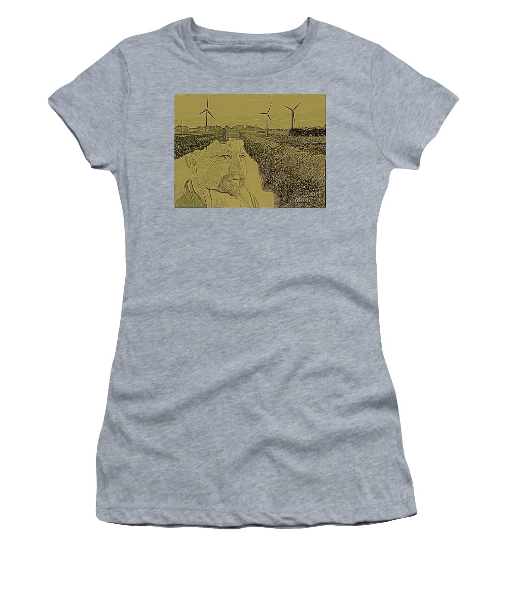 Windmills Women's T-Shirt (Athletic Fit) featuring the photograph Windmills Of My Mind by Blair Stuart