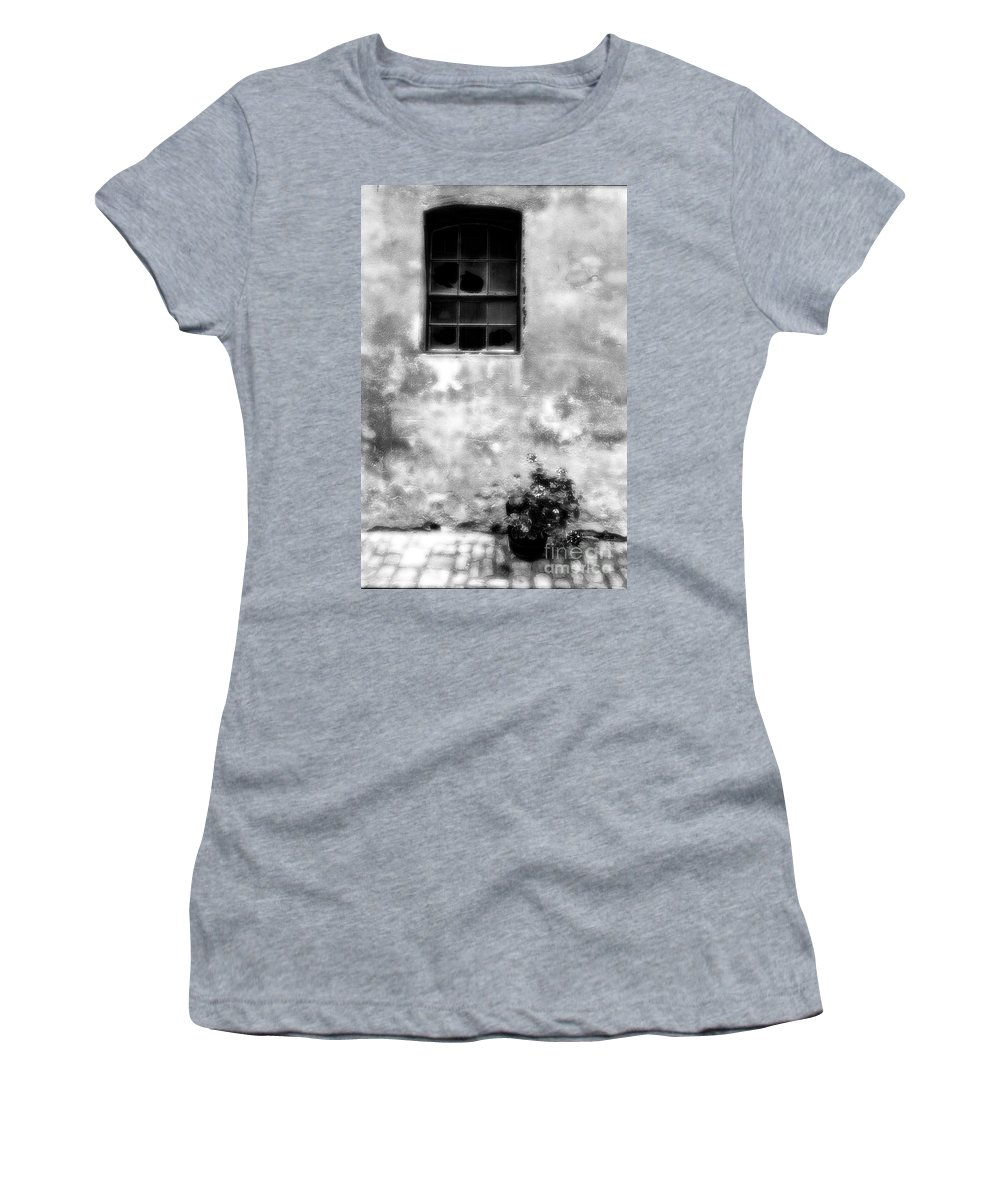 Window Women's T-Shirt (Athletic Fit) featuring the photograph Window And Sidewalk Bw by Mike Nellums