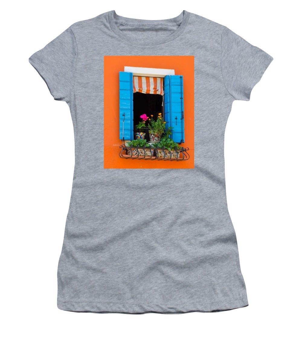 Orange Women's T-Shirt featuring the photograph Window Plants by Jon Berghoff