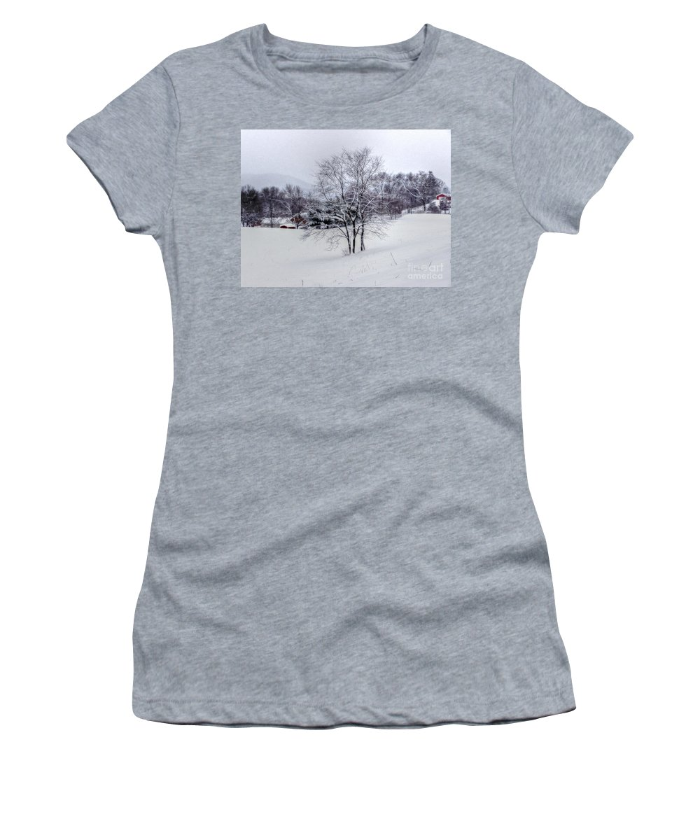 Alone Women's T-Shirt (Athletic Fit) featuring the photograph Winter Landscape 6 by Dan Stone