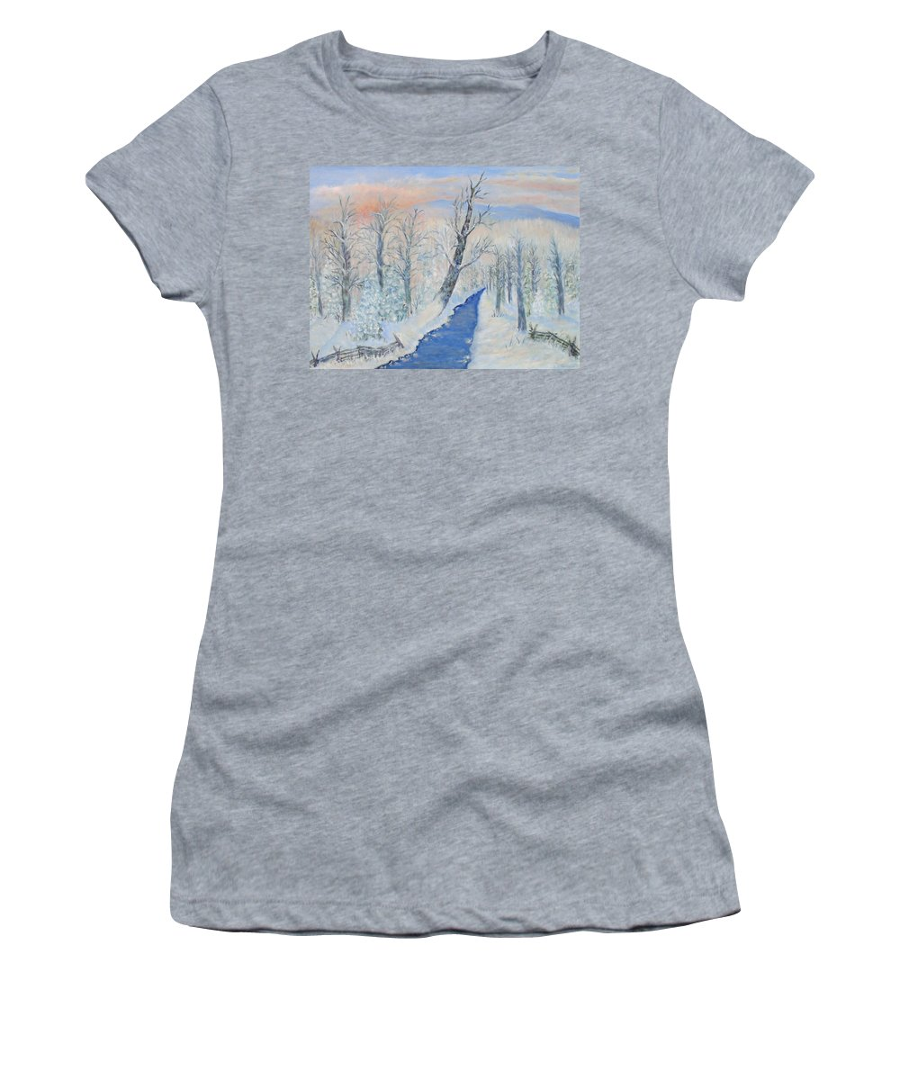 Winter Women's T-Shirt featuring the painting Winter Sunrise by Ben Kiger