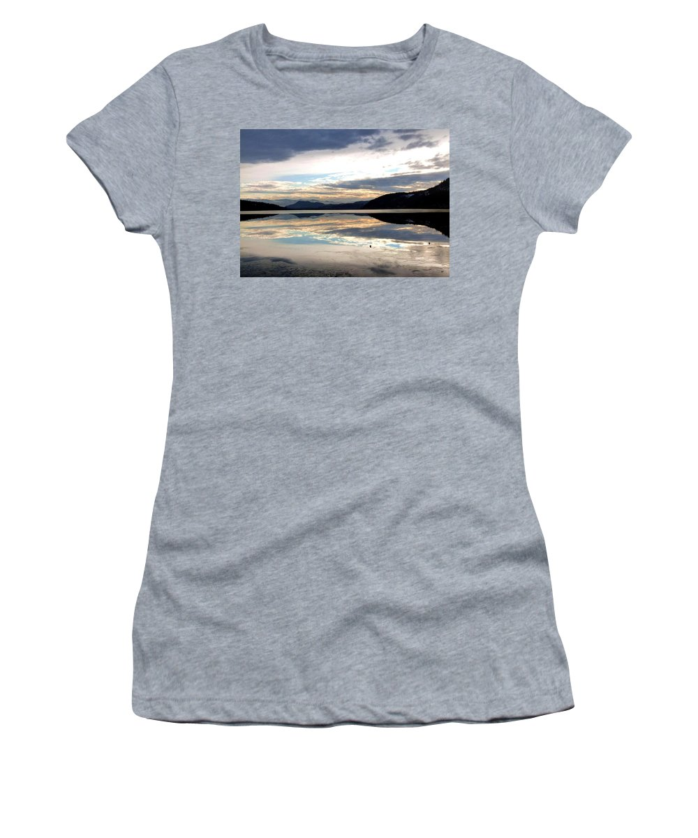 Wood Lake Women's T-Shirt featuring the photograph Wood Lake Mirror Image by Will Borden