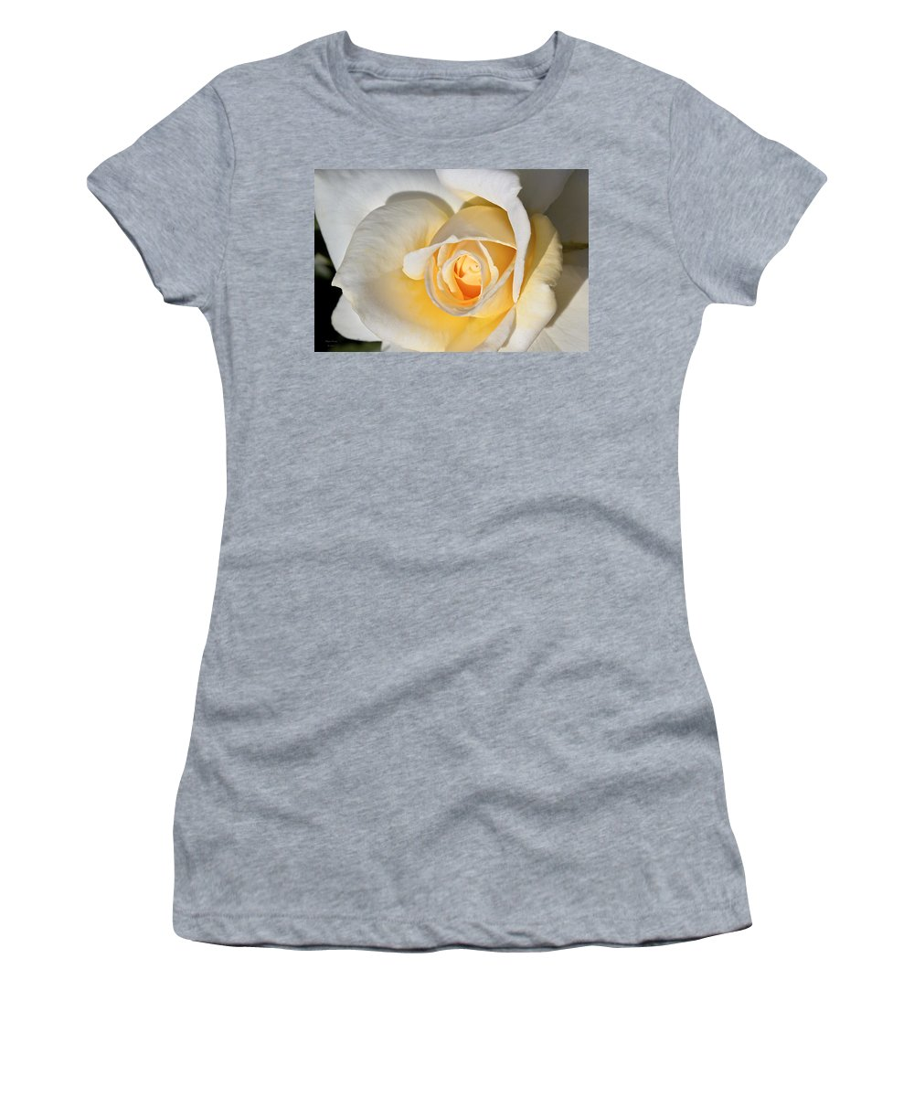 Rose Women's T-Shirt (Athletic Fit) featuring the photograph Yellow Rose by Phyllis Denton