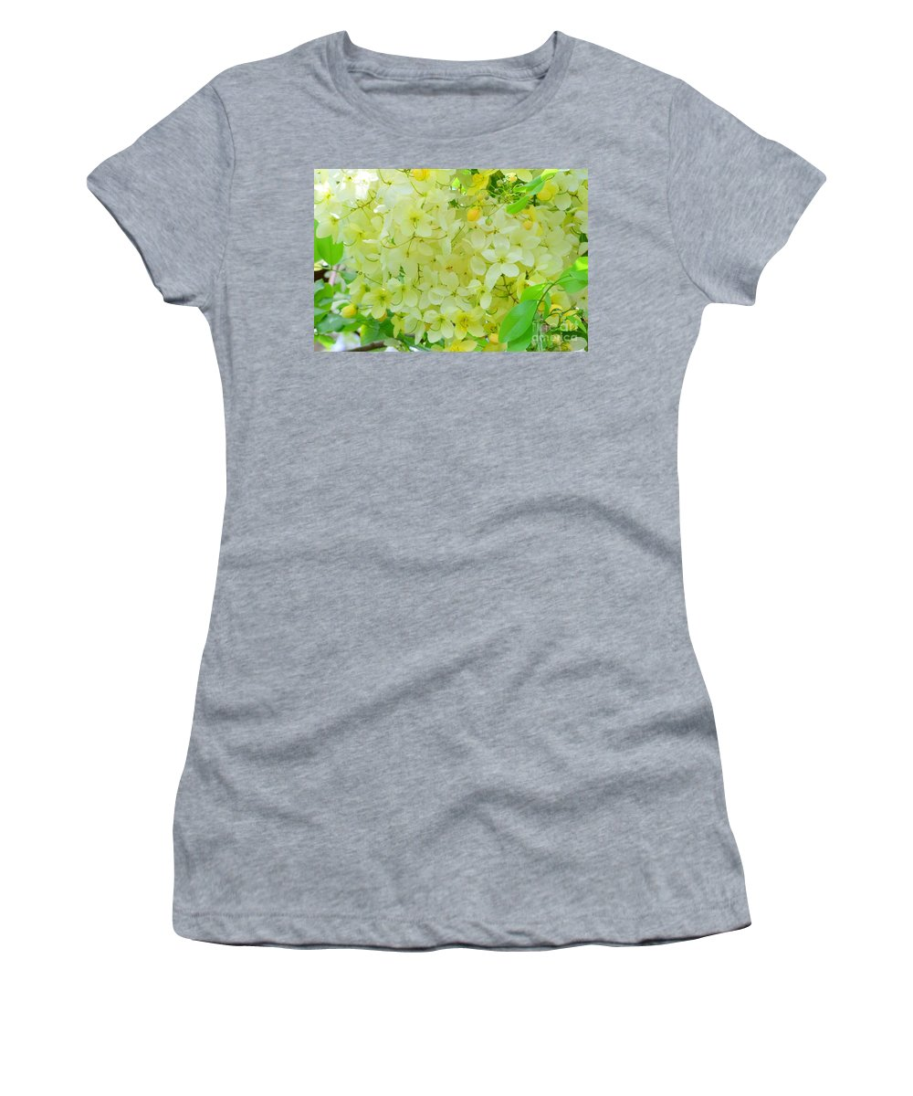 Yellow Women's T-Shirt (Athletic Fit) featuring the photograph Yellow Shower Tree - 5 by Mary Deal