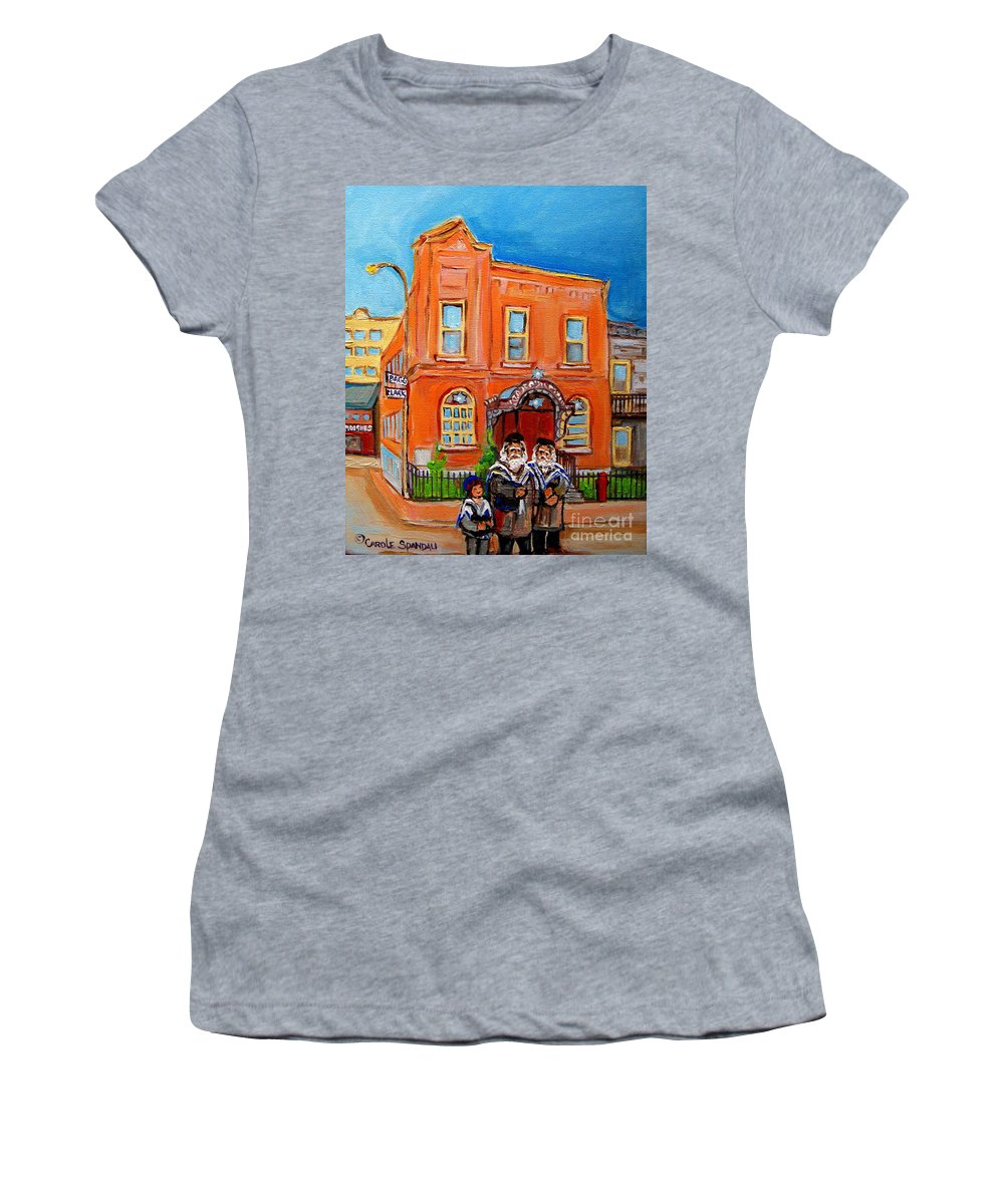 Beautiful Synagogue On Bagg Street Women's T-Shirt (Athletic Fit) featuring the painting Beautiful Synagogue On Bagg Street by Carole Spandau