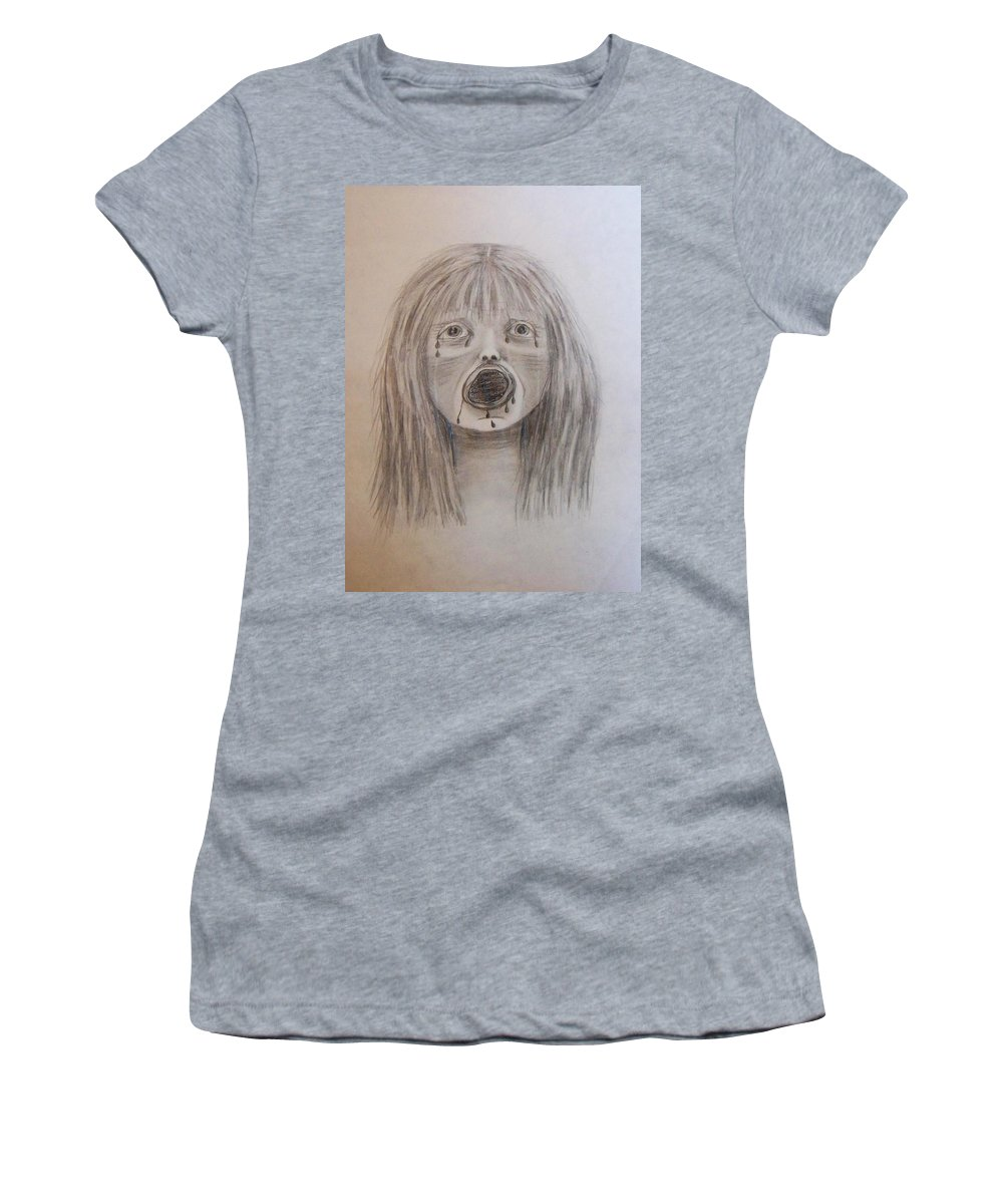 Abuse Women's T-Shirt (Athletic Fit) featuring the drawing Betrayal by Deahn   Benware