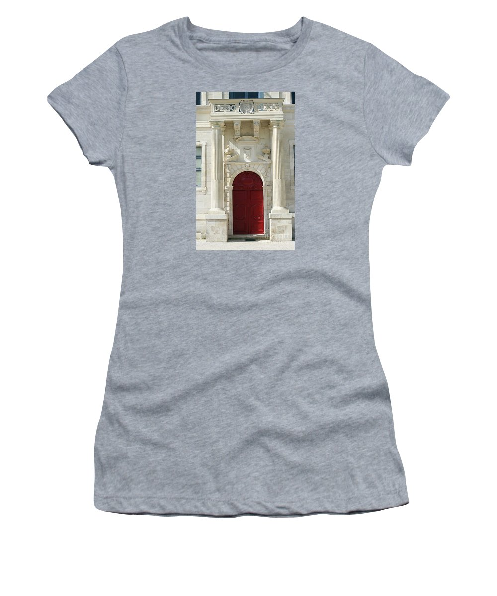 Red Door Women's T-Shirt (Athletic Fit) featuring the photograph Burgundy Door by Christiane Schulze Art And Photography