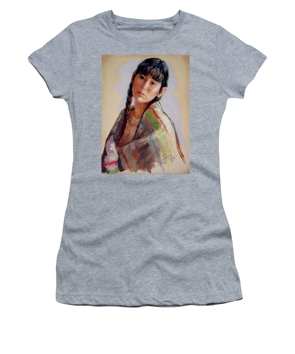 Sacajawea Women's T-Shirt featuring the painting Sacajawea  Study by Jerrold Carton