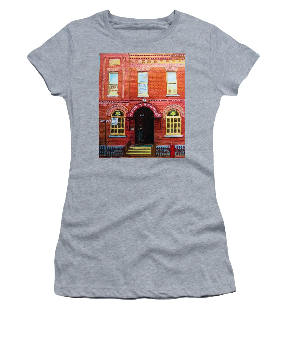 Synagogues Women's T-Shirt (Athletic Fit) featuring the painting Temple Solomon Congregation by Carole Spandau
