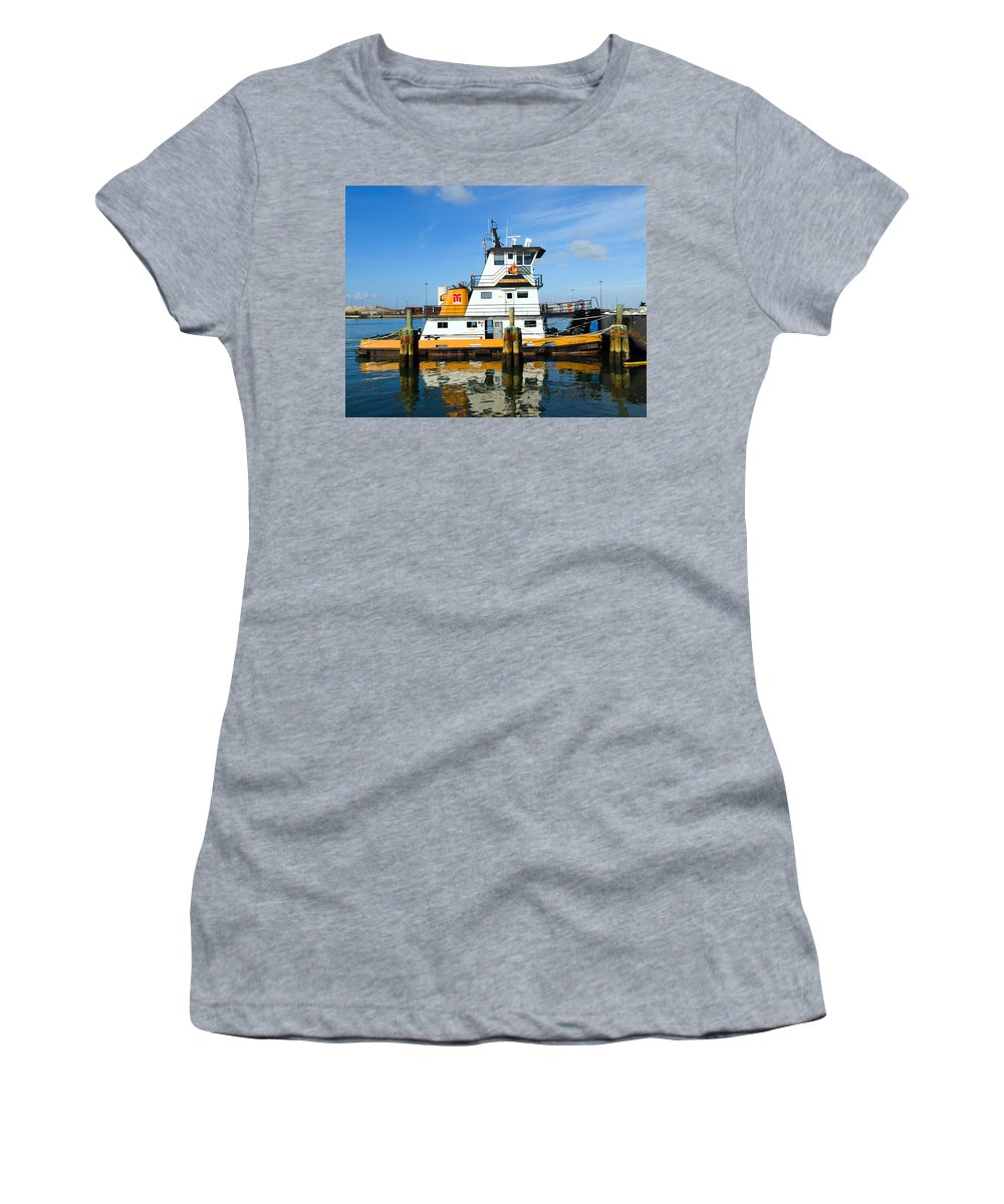 Florida; East; Space; Coast; Tug; Boat; Tugboat; Tow; Towboat; Pusher; Pushes; Push; Cargo; Fuel; Oi Women's T-Shirt featuring the photograph  Tug Indian River Is Part Of The Scene At Port Canvaeral Florida by Allan Hughes