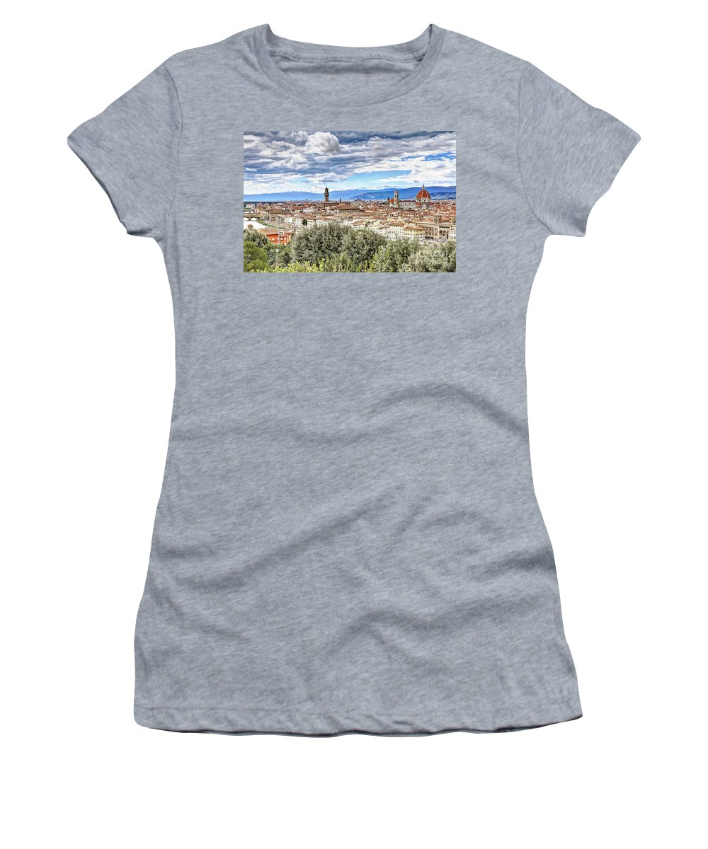 Florence Women's T-Shirt (Athletic Fit) featuring the photograph 0960 Florence Italy by Steve Sturgill