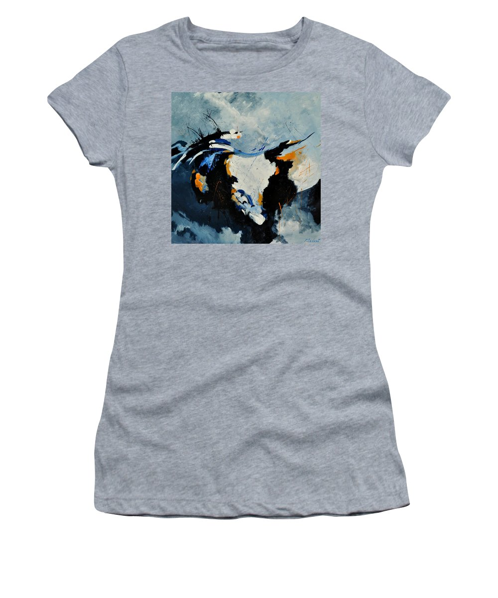 Abstract Women's T-Shirt (Athletic Fit) featuring the painting Abstract 880150 by Pol Ledent