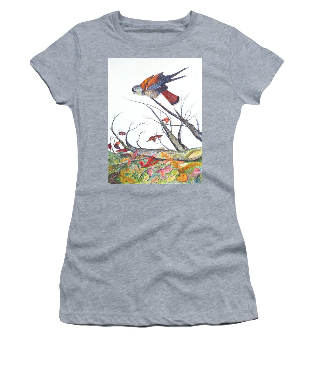 Bird Women's T-Shirt featuring the painting American Kestrel by Ben Kiger