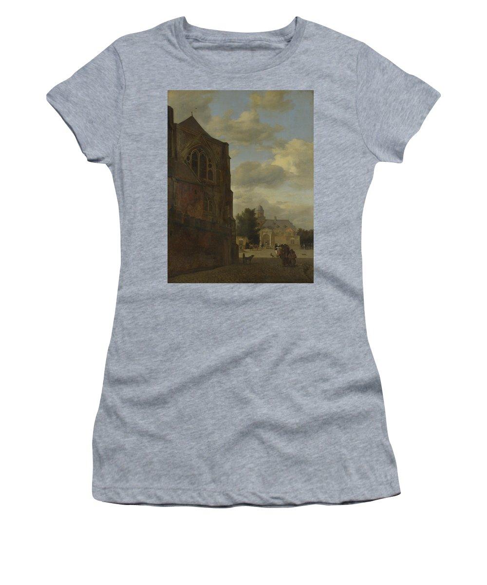 Jan Women's T-Shirt (Athletic Fit) featuring the digital art An Imaginary View Of Nijenrode Castle by PixBreak Art