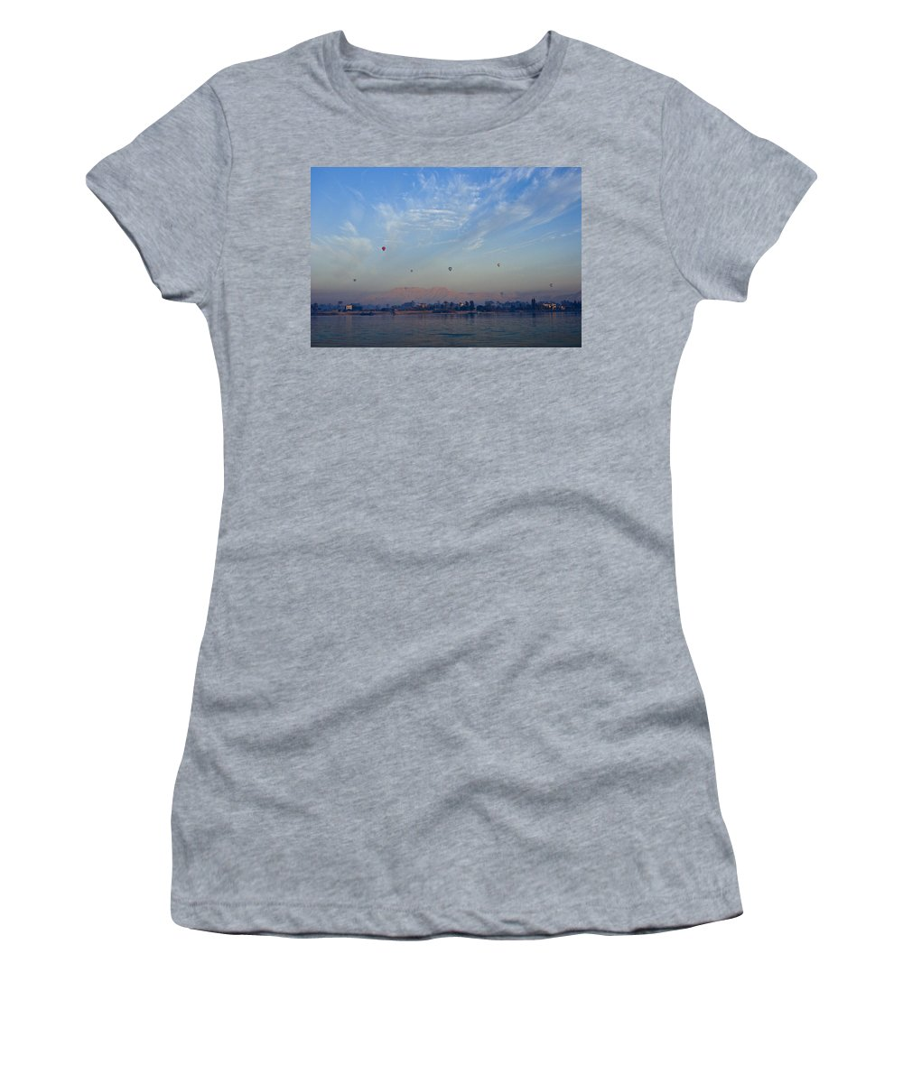 Egypt Women's T-Shirt (Athletic Fit) featuring the photograph Ballooning Over The Nile by Michele Burgess
