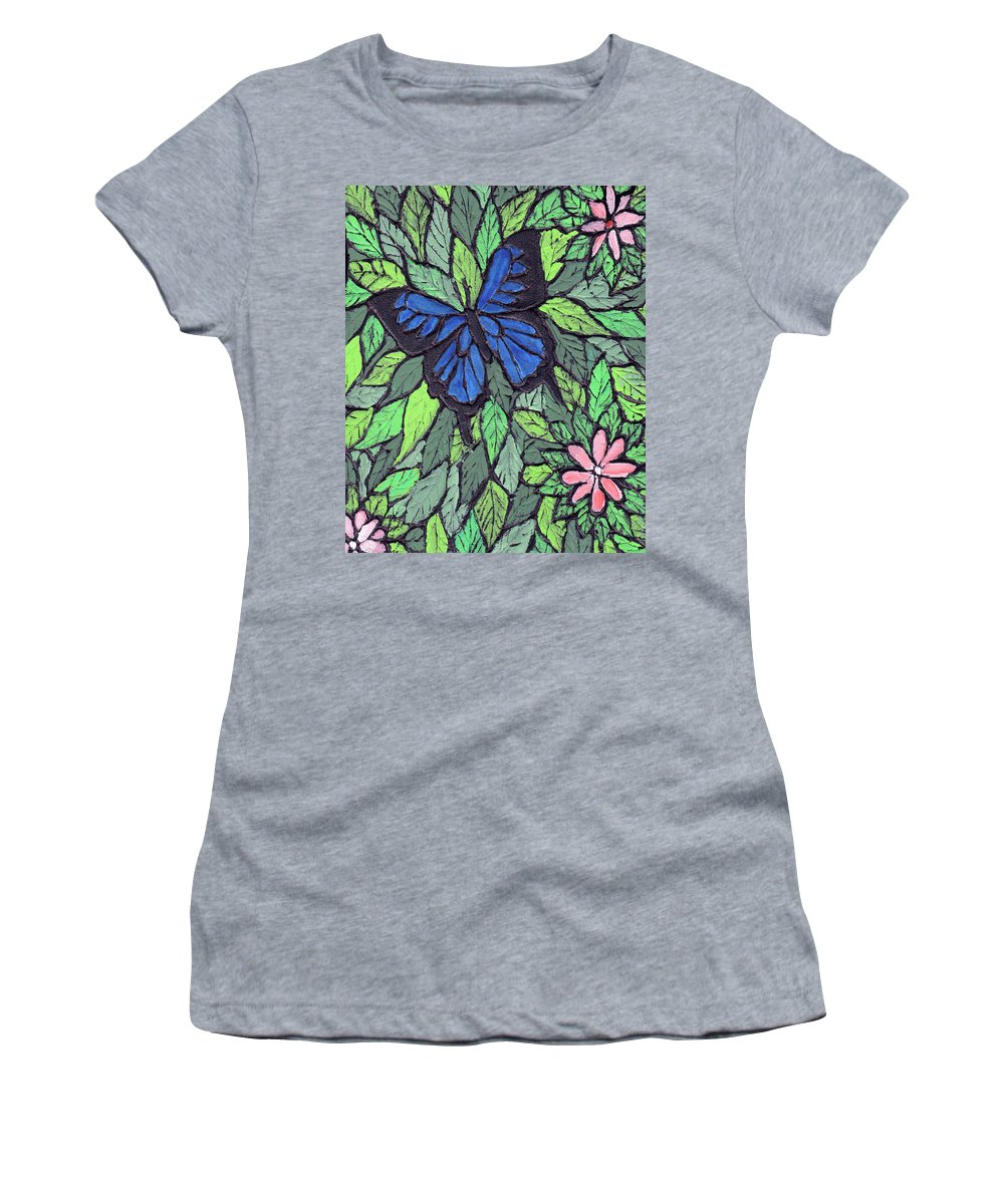 Butterfly Women's T-Shirt (Athletic Fit) featuring the painting Blue Butterfly Two by Wayne Potrafka