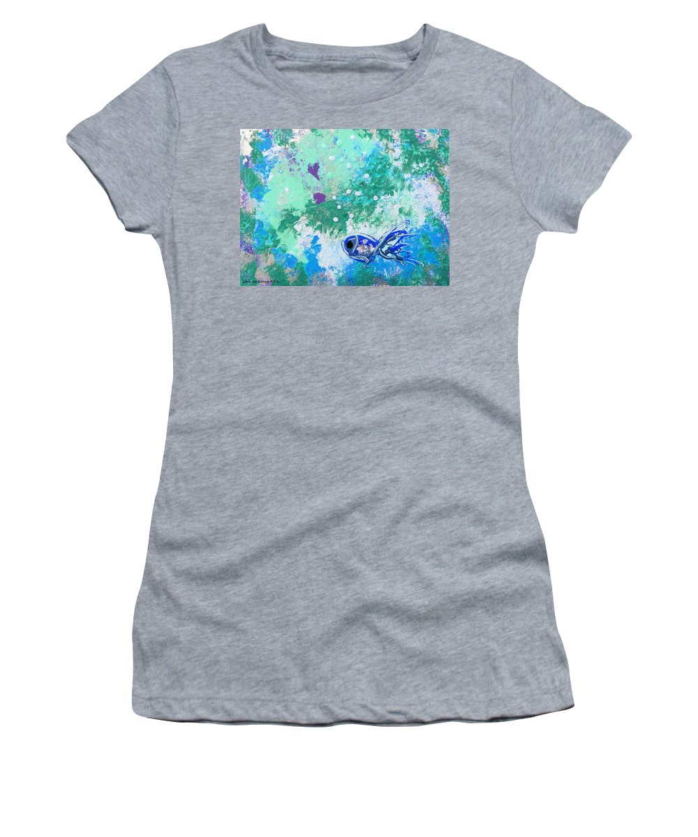 Fish Women's T-Shirt (Athletic Fit) featuring the painting 1 Blue Fish by Gina De Gorna