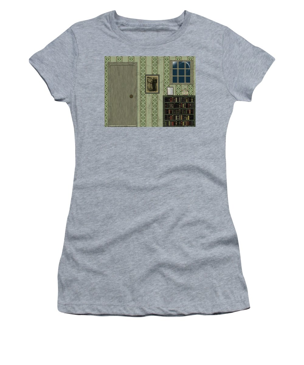 Bedroom Women's T-Shirt (Athletic Fit) featuring the painting Blue Night In A Green Room by RC DeWinter