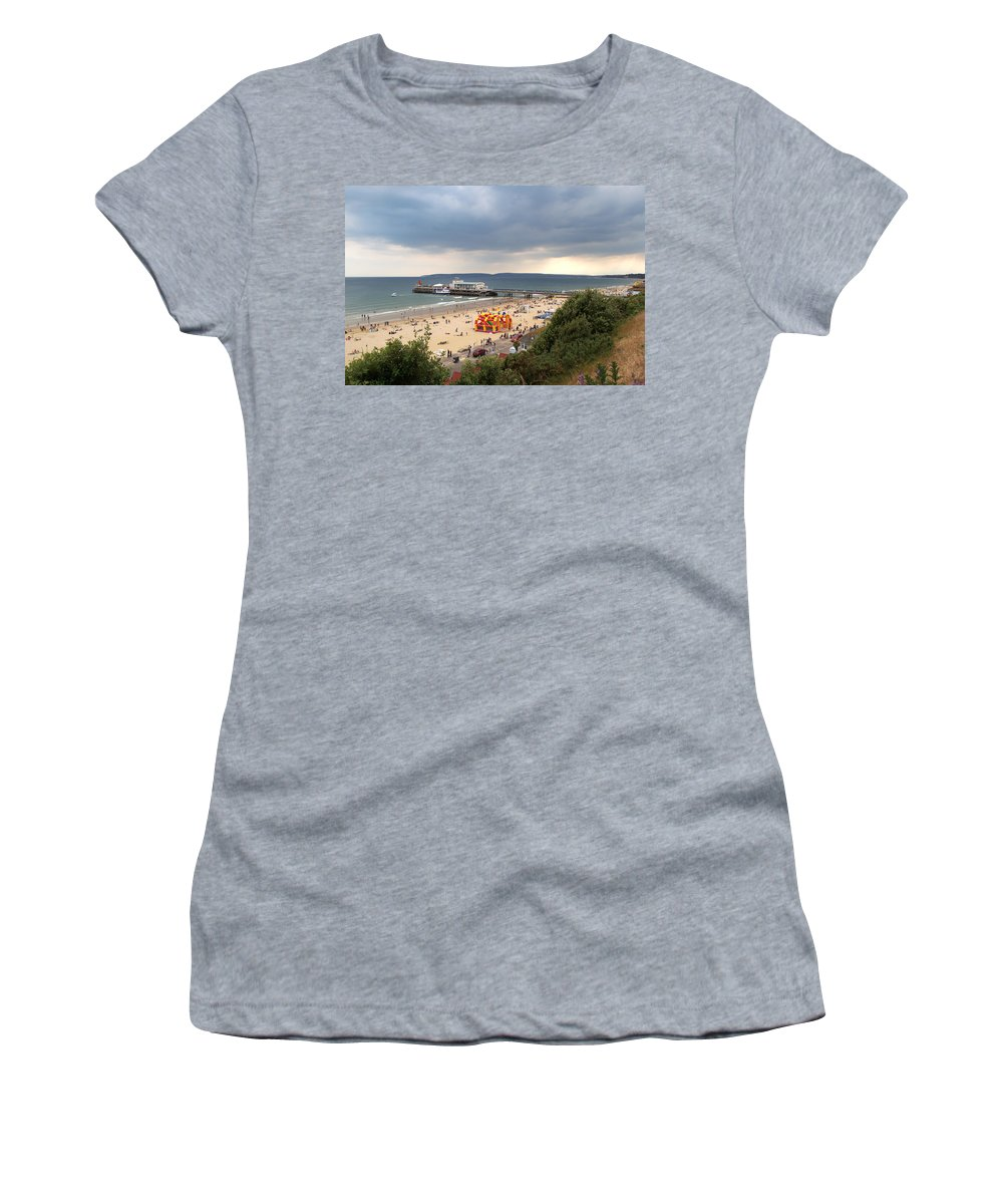 Bournemouth Women's T-Shirt (Athletic Fit) featuring the photograph Bournemouth Pier And Beach by Chris Day
