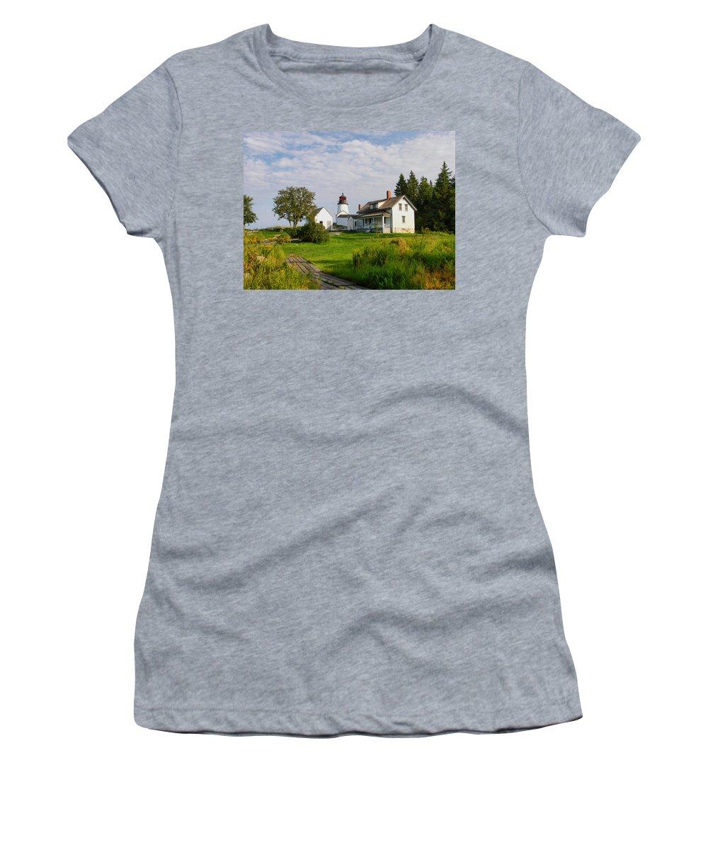 New England Lighthouse Women's T-Shirt featuring the photograph Burnt Island Lighthouse by Nancie DeMellia