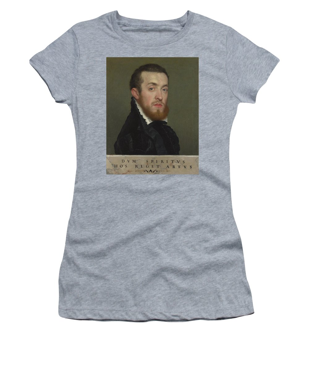 Giovanni Women's T-Shirt (Athletic Fit) featuring the digital art Bust Portrait Of A Young Man With An Inscription by PixBreak Art
