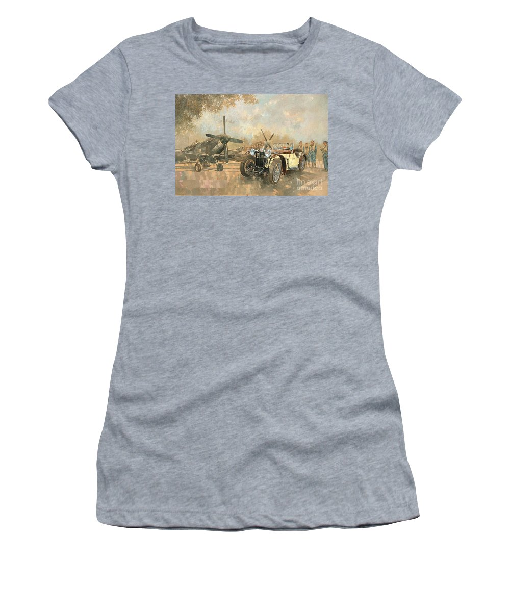 Vehicle; Airplane; Aeroplane; Plane; Military; Airforce; Vintage Car; Planes; Aeroplanes; Airplanes; Classic Cars; Auto; Spitfire Women's T-Shirt featuring the painting Cream Cracker Mg 4 Spitfires by Peter Miller