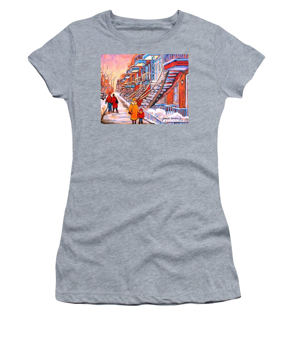Debullion Street Winter Walk Women's T-Shirt featuring the painting Debullion Street Winter Walk by Carole Spandau