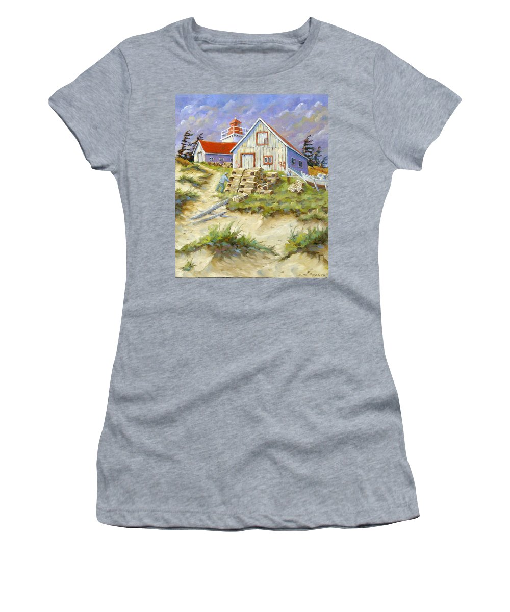 Art Women's T-Shirt (Athletic Fit) featuring the painting End Of Lobster Season by Richard T Pranke