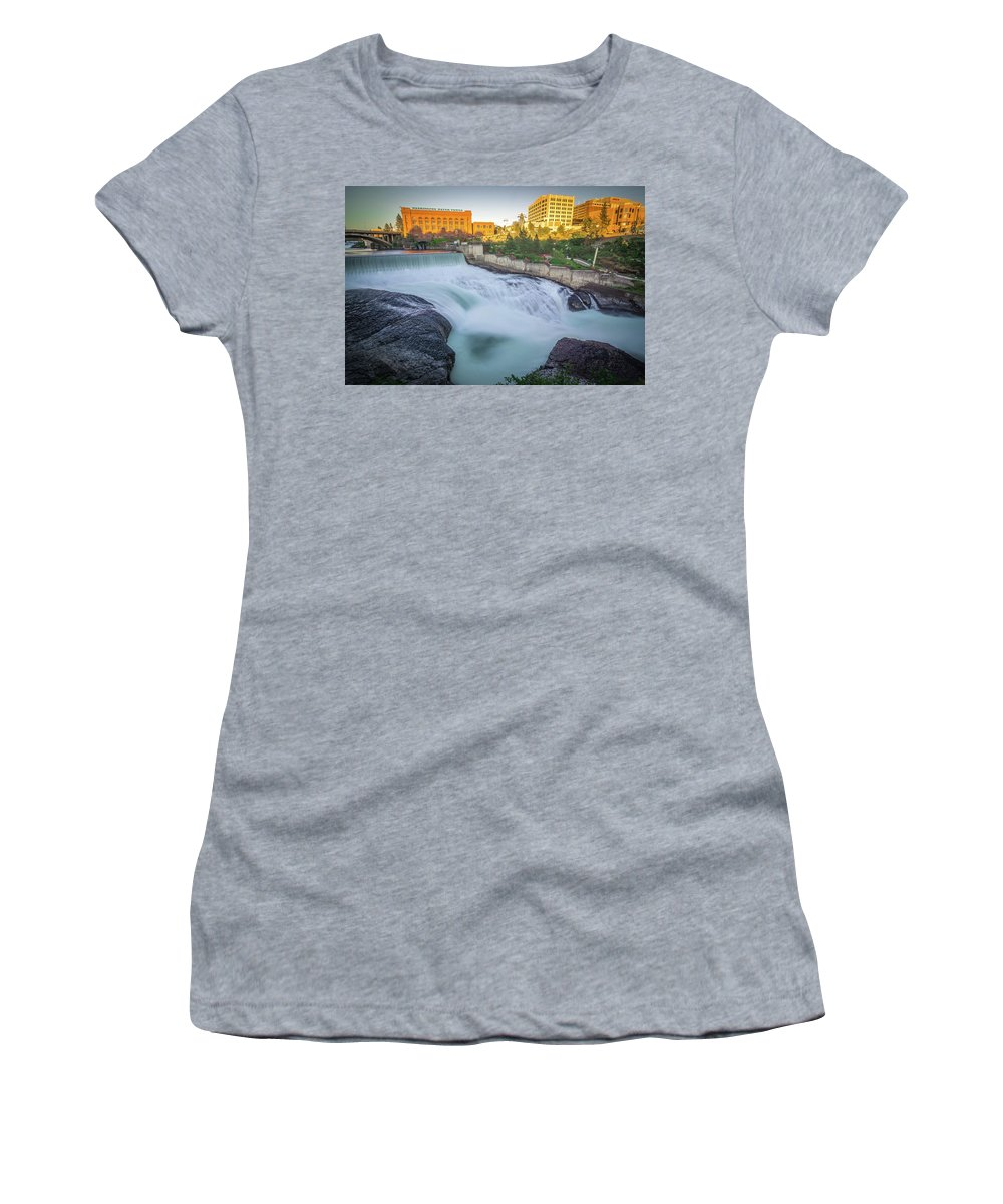 Water Women's T-Shirt (Athletic Fit) featuring the photograph Falls And The Washington Water Power Building Along The Spokane by Alex Grichenko