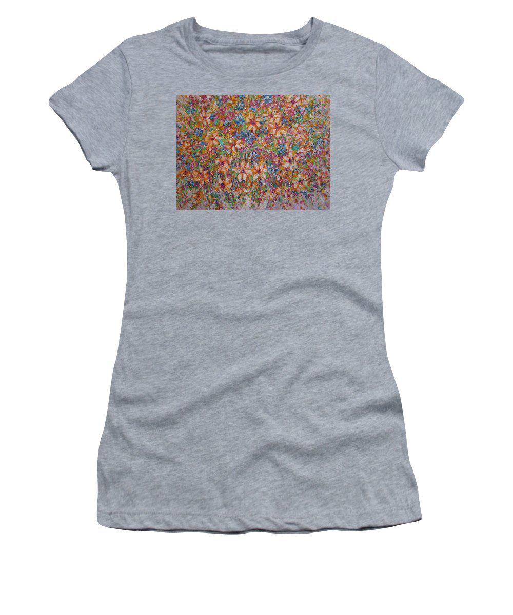 Flowers Women's T-Shirt (Athletic Fit) featuring the painting Flower Galaxy by Natalie Holland