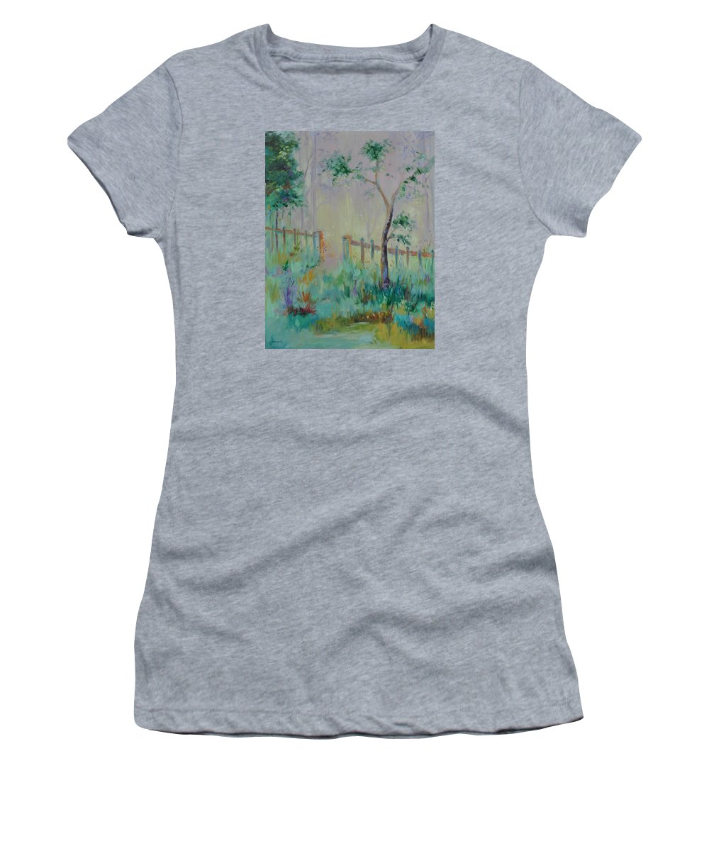 Garden Women's T-Shirt (Athletic Fit) featuring the painting Garden And Beyond by Ginger Concepcion