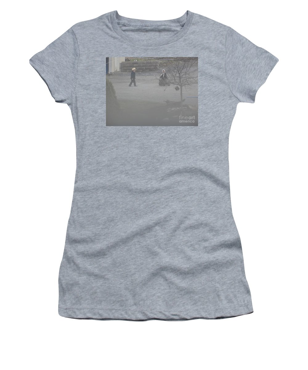 Amish Women's T-Shirt featuring the photograph Going To Help A Friend by Christine Clark