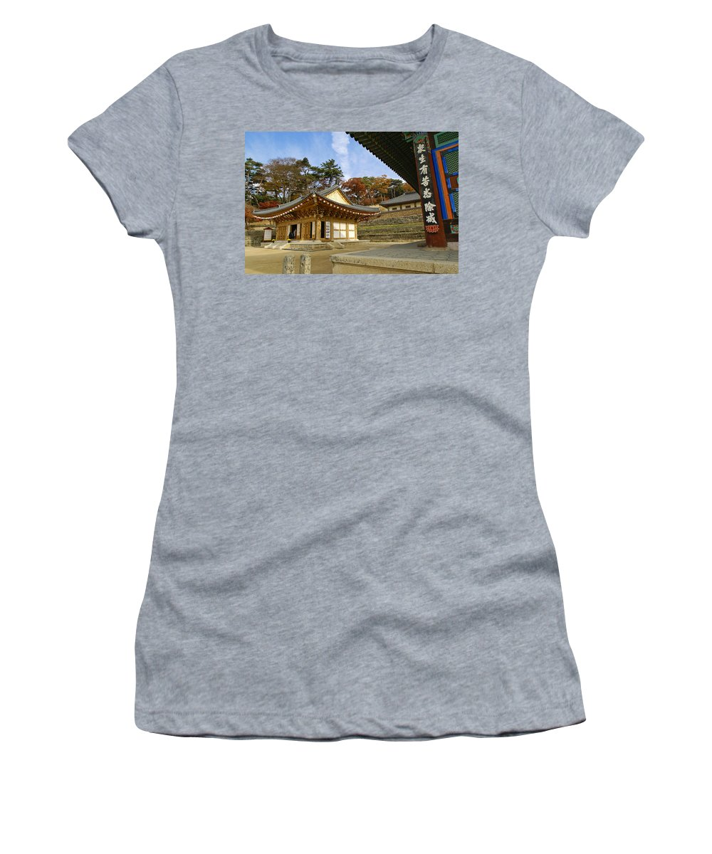 Buddhist Women's T-Shirt featuring the photograph Haeinsa Buddhist Temple by Michele Burgess