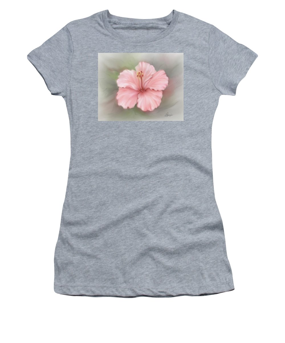 Floral Women's T-Shirt (Athletic Fit) featuring the painting Hibiscus by Bonnie Willis