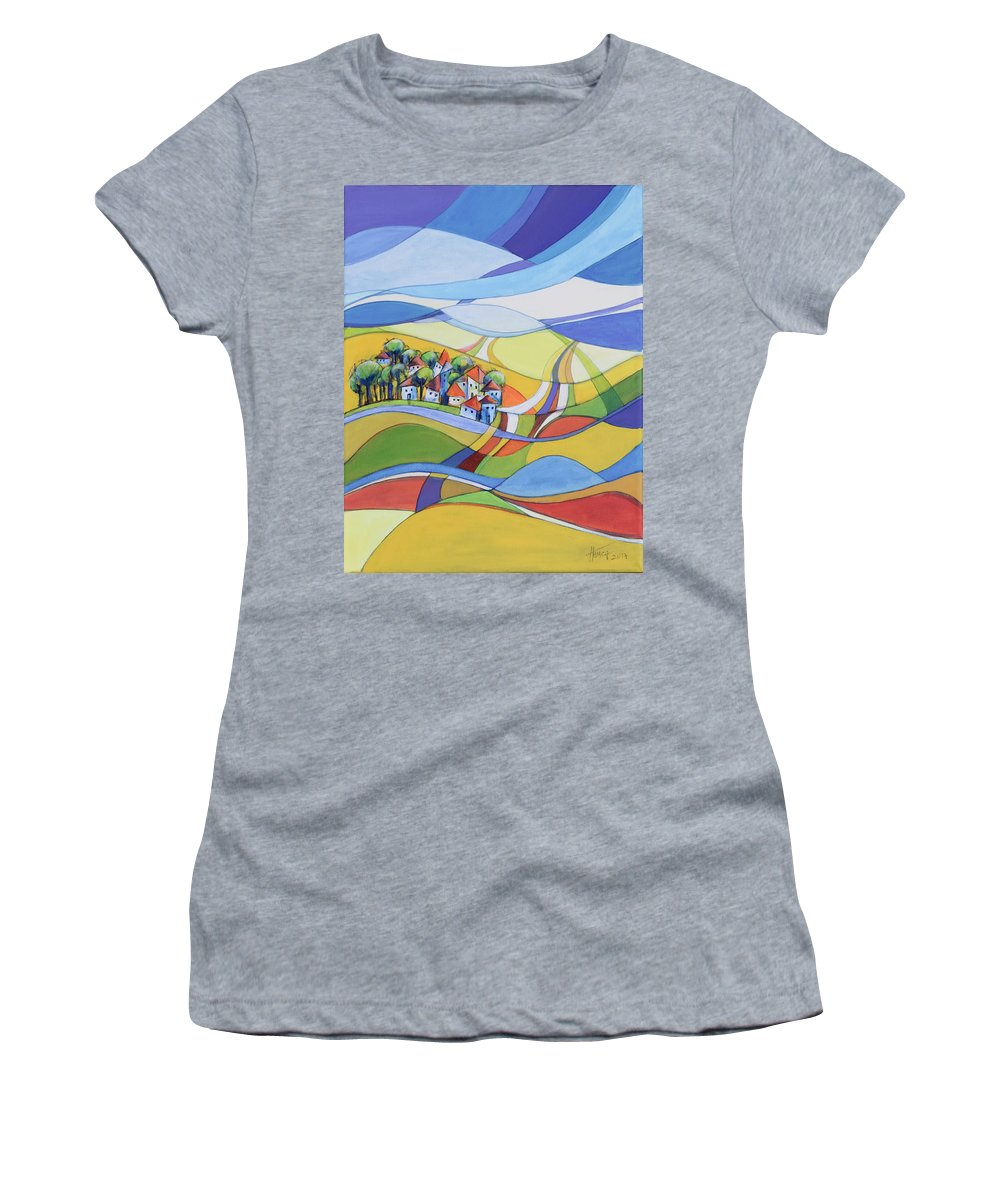 Landscape Women's T-Shirt featuring the painting Houses along the river by Aniko Hencz