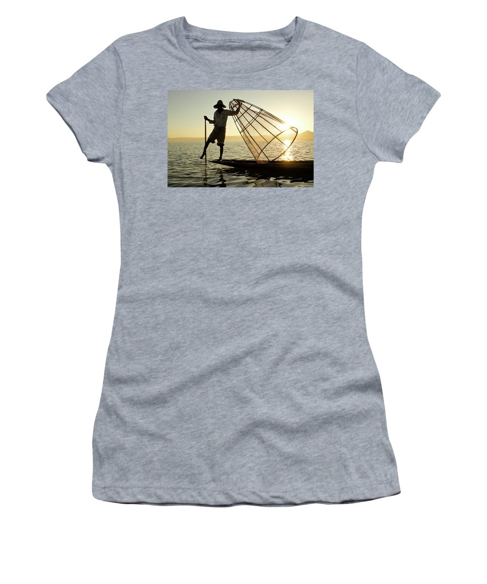 Asia Women's T-Shirt featuring the photograph Inle Lake Fisherman by Michele Burgess